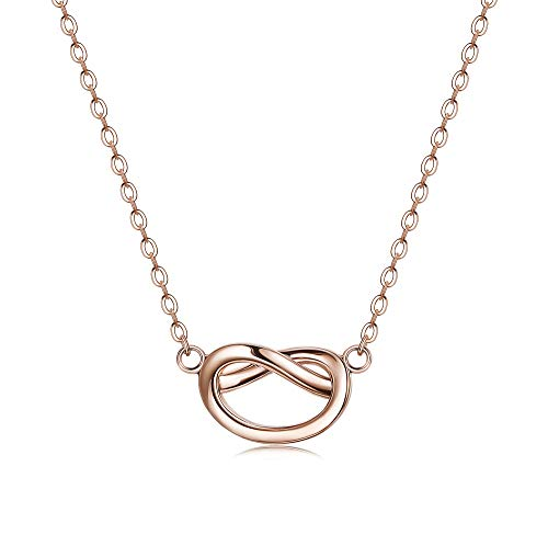 Sllaiss 925 Sterling Silver Forever Love Knot Necklace Clavicle Necklace for Women Girls Teen Infinity Pendant (Rose Gold) ()