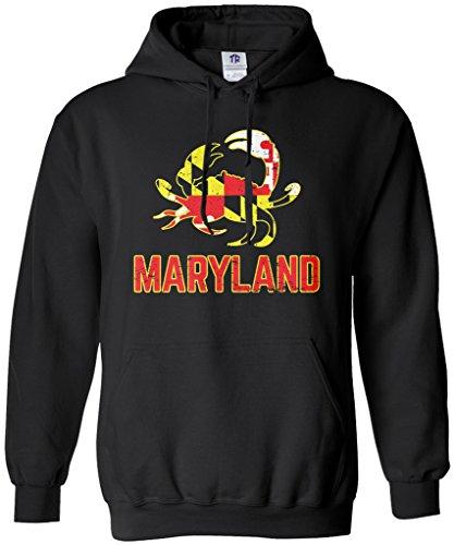 Threadrock Maryland State Flag Crab Emblem Unisex Hoodie Sweatshirt L ()