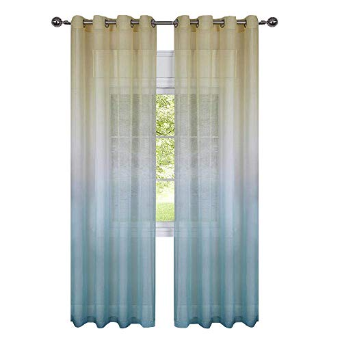 GoodGram 2 Pack Semi Sheer Ombre Chic Grommet Curtain Panels - Assorted Colors (Citrus Multi) -