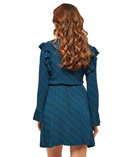 Blau Wickelkleid Browns Joe Rüschendetails mit Damen w1fnqX0g