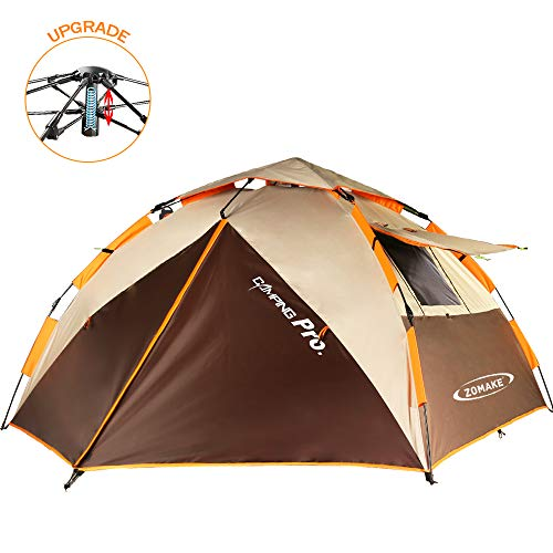 ZOMAKE Dome Tent for Camping 3 4 Person - Waterproof Instant Backpacking Tent, Automatic Hydraulic Pop Up Tent with Easy Setup, Carry Bag Included