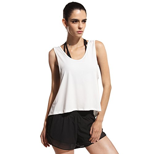 Price comparison product image Autumn Melody Stylish Women Sports Blouse Sexy Sleeveless Vest Oversize Tops Size L US (White)