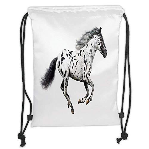 Custom Printed Drawstring Backpacks Bags,Horse Decor,Powerful Appaloosa Stallion Graceful Royal Pure Blood Champion Equine Print Decorative,Black White Soft Satin,5 Liter Capacity,Adjustable Stri