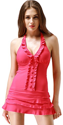 [Wantdo Women's Large Bust Swimwear Swimsuit Plus Size Swim Costumes Swimdress, Watermelon Red, US] (Swimming Costume For Womens)