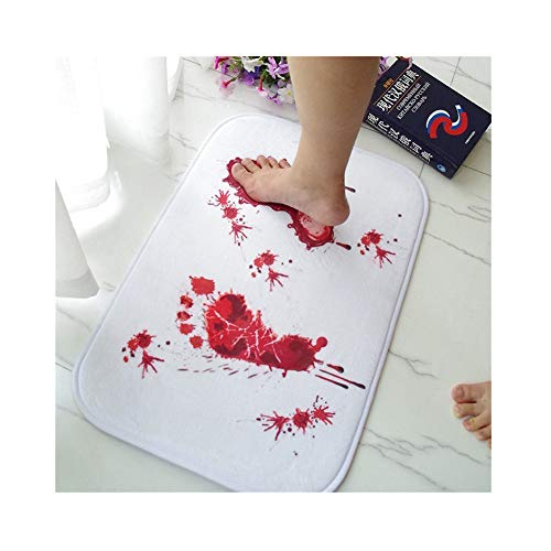 Blood Bath Mat, Samyoung Home Decor Bloody Footprints Rugs For Bathroom, Water Absorption Non-slip Rug, Brand Soft Fluffy Comfy Carpets Halloween Decoration Gift Creative Horror Shower Floor Mats