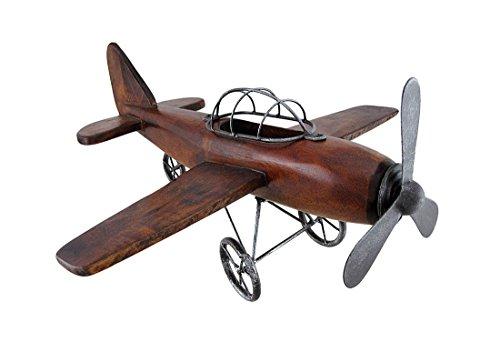 Zeckos Wood and Metal Vintage Airplane Decorative Art Statue