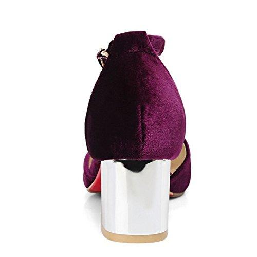 COOLCEPT Mujer Moda Tacon Medio Bombas De Tacon Ancho De Al Tobillo Purpura