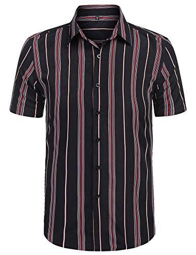 (URRU Men's Fashion Short Sleeve Regular Fit Button Down Shirt Casual Vertical Striped Dress Shirt Black XL)