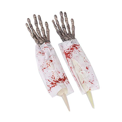 Amosfun Halloween Horror Props Realistic Bloody Hands Fake Creepy Arms Horror Decorations Props for Halloween Club Pub Haunted House Prank Toys 1 -