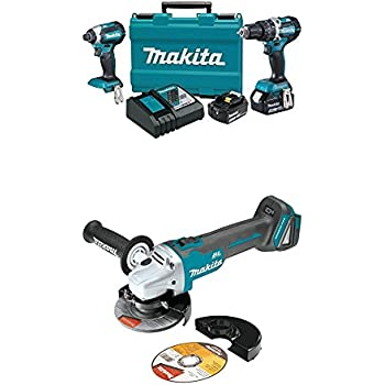 """Makita XT269M 18V LXT Lithium-Ion Brushless Cordless 2-Pc. Combo Kit (4.0Ah) with XAG04Z 18V LXT Lithium-Ion Brushless Cordless 4-1/2"""" / 5"""" Cut-Off/Angle Grinder"""