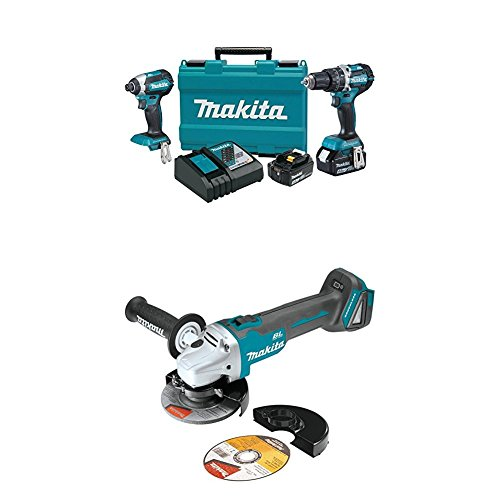 "Makita XT269M 18V LXT Lithium-Ion Brushless Cordless 2-Pc. Combo Kit (4.0Ah) with XAG04Z 18V LXT Lithium-Ion Brushless Cordless 4-1/2"" / 5"