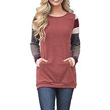 Moludoya Womens Color Block Long Sleeve Sweatshirt Tops Kangaroo Pocket Tunics