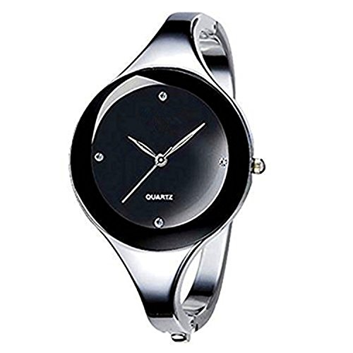 Vavna Womens Ladies Stainless Steel Black Dial Oval Bracelet Bangle Wrist Watch Quartz (Round Dial) (Steel Watch Bangle Diamond)