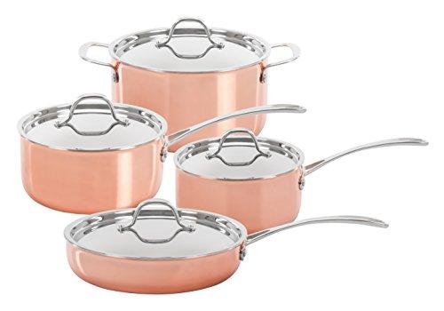 CONCORD 8 Piece Triply Natural Copper Premium Cookware Set