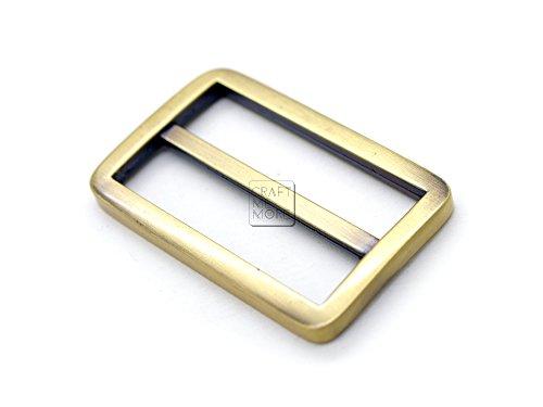 Rhinestone Metal Belt Buckle (CRAFTMEmore Flat Metal Slide Buckle Triglide Strap Keeper Leathercraft Bag Belt Adjuster Sliders 6 Pack (1 1/2 Inches, Brushed Gold (Bronze)))