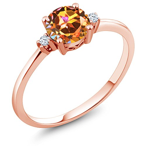 Gem Stone King 10K Rose Gold Engagement Solitaire Ring set with 1.03 Ct Round Ecstasy Mystic Topaz and White Created Sapphires (Size 9)