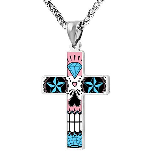 Wanperd Custom Transgender Pride Sugar Skull with Roses Cross Pendant Necklace Zinc Alloy Necklace Christian Religious Jewelry for Men/Women