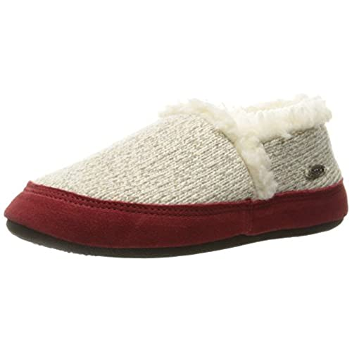 Acorn Women's Moc Ragg Slipper, Grey Ragg Wool, Medium/6.5-7.5 M US