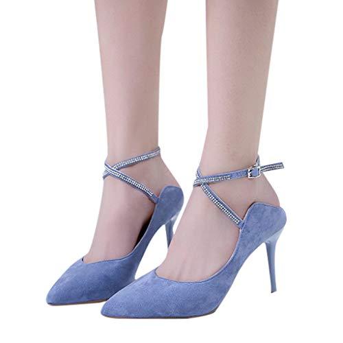 Women Classic Chunky High Heel Pump Sandals Ankle Strap Point Toe Criss Cross Dress Shoes Light Blue