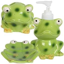 Kids Jungle Friends Stoneware Bathroom Accessories (FROG)