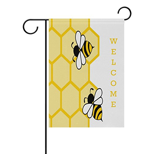 ALAZA Stylish Cute Honey Bees Polyester Garden Flag House Ba