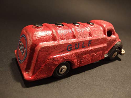FidgetKute Antique Vintage Style Cast Iron Red Gulf Toy Truck Car Show One Size