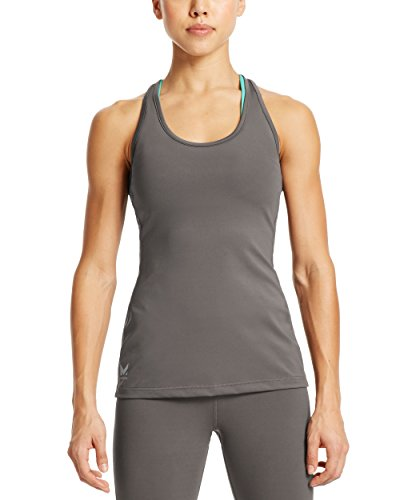 Mission Women's VaporActive Fuel Tank Top, Iron Gate/Pool Blue, (Ultimate Non Iron Shirt)