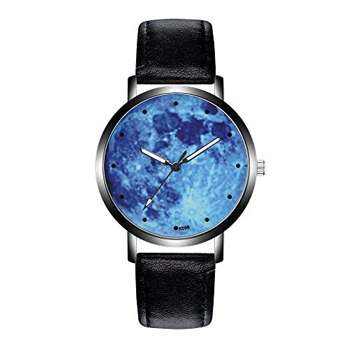 HHei_K Mens Business Creative Fashion Casual K056 Crystal Leather Sport Dial Analog Quartz Round Wrist Watch