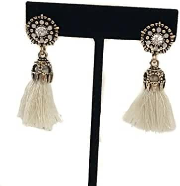 Short Tassel Drop/ Dangle Earrings with Rhinestones and Gold Tone Pewter Finish