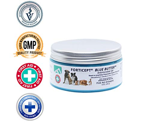 (Forticept Blue Butter Antimicrobial Gel, Antiseptic Hydrogel Wound Treatment, Dogs & Cats for Hot Spots, Pyoderma, Skin Infections, Rashes, Sores, Wounds, Burns | 8 OZ)