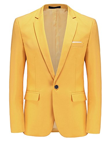 MOGU Mens Slim Fit One Button Casual Blazer Jacket US Size 42 (Label Asian Size 5XL) Yellow by MOGU