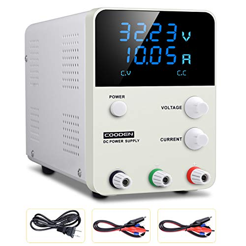 DC Power Supply Variable Switch, COODEN 0-30V 0-10A 4 Digits Display Power Supply Adjustable Regulated Power Supply Digital with Alligator Leads CP3010S