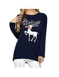 HHmei Women's Christmas Round Neck Long Sleeve Top Printed Deer Blouse
