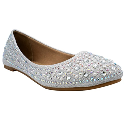 Bella Marie Angie-53 Women's Classic Pointy Toe Ballet Slip On Suede Flats, TPS Crunch-79 Premier Silver Size 7.5