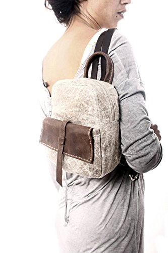 Handmade Chic Small Waterproof Beeswax Canvas and Brown Leather Backpack, Cute Everyday Bags
