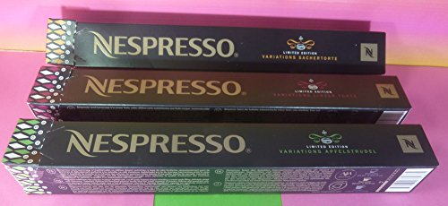 NESPRESSO COFFEE 3 NEW SLEEVES VARIATIONS LINZER TORTE,SACHERTORTE,APFELSTRUDEL, NEW LIMITED EDITION 2016