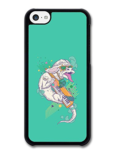 White Dragon Playing Electro Keyboard 80s Throwback Radical on Turquoise case for iPhone 5C