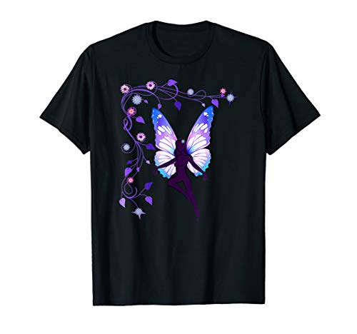 Fairy silhouette, butterfly wings and flowers T shirt - Fairy Butterfly T-shirt