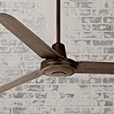 60' Turbina Modern Industrial Outdoor Ceiling Fan with Light Remote Control Oil Rubbed Bronze Damp Rated for Patio Porch - Casa Vieja
