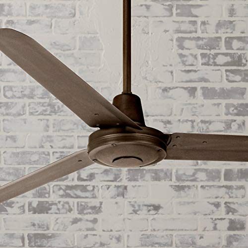 ndustrial Outdoor Ceiling Fan with Light Remote Control Oil Rubbed Bronze Damp Rated for Patio Porch - Casa Vieja ()