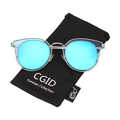de Bleu MJ86 soleil Femme Cercle Miroir Double Lentille CGID Lunettes Polarisées Argenté UV400 Mode TxPOwqBBdv