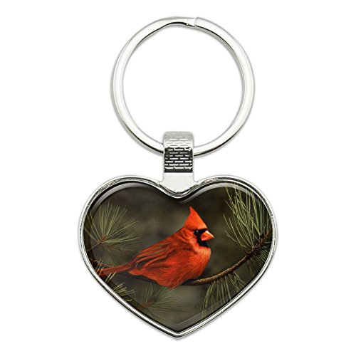 Northern Cardinal Red Pine Perch Heart Love Metal Keychain Key Chain Ring