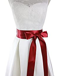 "2"" Wide Simple Classic Colorful Ribbon Sash for Dress Formal Wedding Dress (Burgundy)"