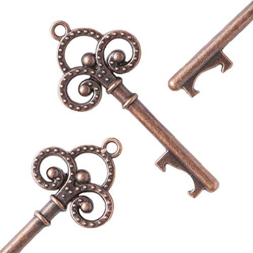 Ella Celebration 50 Vintage Key Bottle Openers Wedding Favors, Skeleton Keys, Party Decorations,- Trinity Keys (Antique Copper) ()