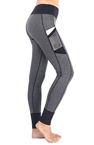 EAST HONG Women's Workout Yoga Pants Leggings Fitness Athletic Pants (L, Grey/Black)