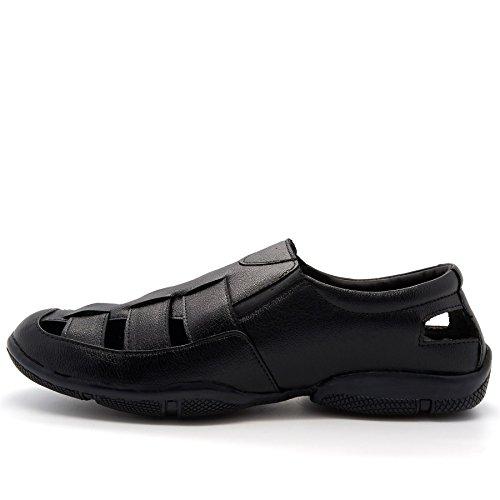 London Herren Plateau Durchgängies Footwear Keilabsatz Sandalen mit Schwarz rS8rOx