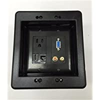 CERTICABLE DOUBLE GANG RECESSED BLACK WALL PLATE 1-110V OUTLET 1-VGA/SVGA 2-RCA STEREO 1-HDMI 1-CAT5 RJ45