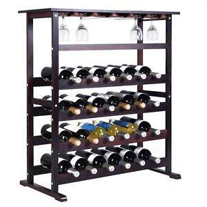 (New 24 Bottle Wood Wine Rack Holder Storage Shelf Display w/ Glass Hanger)