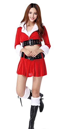 ainr Women Santa Suit Christmas Costume Dress Cape Cosplay Fancy Outfit 12 (Repunzel Adult Costume)