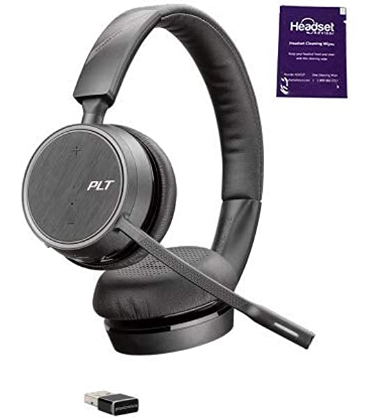 Amazon Com Plantronics Voyager 4220 Uc Usb A Wireless Headset Bundle With Headset Advisor Wipe Computers Accessories